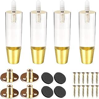 Btowin - Patas de acrílico para muebles 4 unidades con rosca M8 de 5/16 pulgadas base de latón y placa de montaje y tor...
