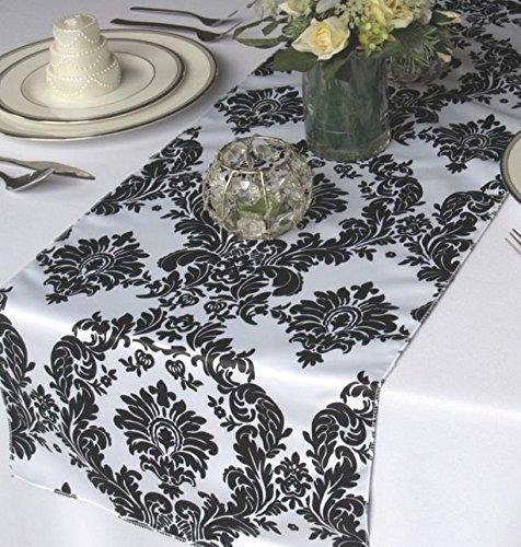 """12 Pack Flocked Taffeta Damask 12"""" X 108"""" Top Table Runner Black White Wedding"""