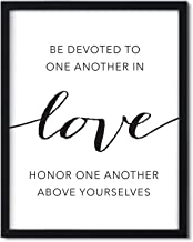 Andaz Press Unframed Black White Wall Art Decor Poster Print, Bible Verses, Be Devoted to one Another in Love. Honor one Another Above Yourselves. Romans 12:9-10, 1-Pack