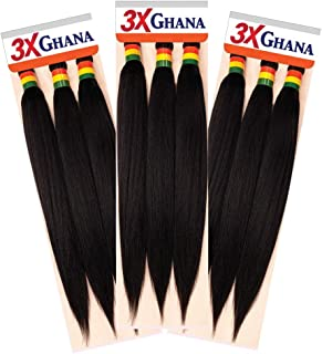 "REALISTIC - Multi Pack Deals! Pre-stretched X-Pression 3X Ghana Braids 60"" 100% Kanekalon Easy to braid, KNOTLESS, FEED in Braid Itch Free (3-PACK, 1B) E613XG6-1B3"