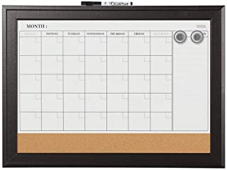 "Quartet Combination Magnetic Whiteboard Calendar & Corkboard, 17"" x 23"" Combo Dry Erase White Board & Cork Bulletin Board,..."
