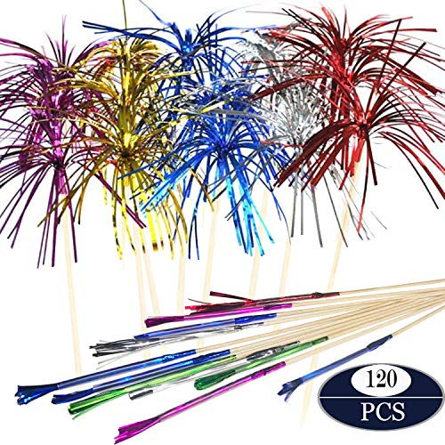 Cocktail Picks Firework Party Picks Seasonsky 120 PCS Firework Cake Toppers, Sandwich & Cocktail Picks, Toothpicks for Cakes Decoration, Party Supplies, Christmas Decoration