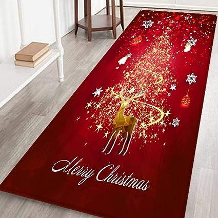 Wongfon Merry Christmas Gold Reindeer Snowflake Xmas Tree Area Rug Flannel Area Rug Non Slip Floor Rug Runner Washable Carpet Mat For Kitchen Dinning Room Amazon Co Uk Kitchen Home