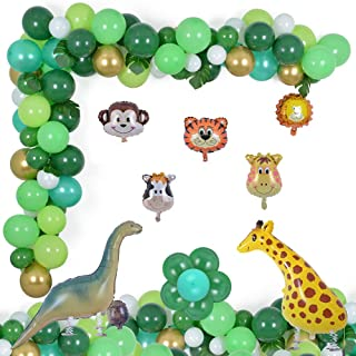 Jungle Party Decorations 124 Pcs Balloons Garland Kit Safari Tropical Animal Theme Decor Foil Balloon for Kid's Birthday B...