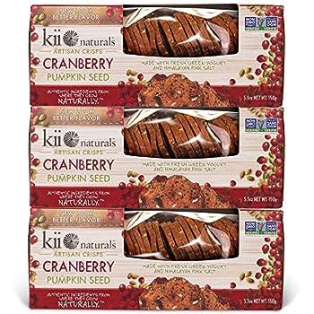 Kii Naturals Artisan Crisps- Cranberry Pumpkin Seed 5.3 oz  3 Pack