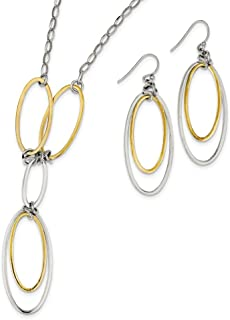 Sterling Silver Dangle Shepherd hook Fancy Lobster Closure and Gold-Flashed Polished Drop Necklace And Earrings Set