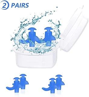 Trcviove UTT Ear Plugs Swimming Spiral Swimming Earplugs Silicone Earplugs for Swimming Showering Waterproof Reusable Adult Size 2-Pair Pack