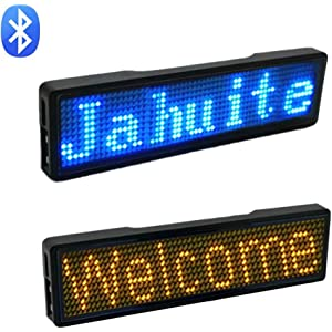 JAHUITE LED Name Tag 2-Packs Rechargable Cellphone Programmable with Magnet//Pin Mount Business Sign Advertising Board Display Wireless Bluetooth Name Badge Green