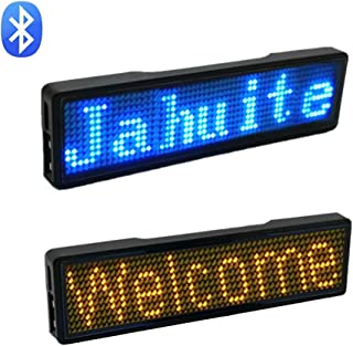 LED Name Badge 2-Packs Rechargable Cellphone Programmable with Magnet/Pin Mount Business Wireless Bluetooth Name Tag (Blue/Yellow)