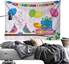 Homrkey Commemorative Tapestry Birthday Decorations for Kids Singing Birds Happy Birthday Song Flags Cone Hats Party Cake Tapestry for Room W60 x L40 Multicolor