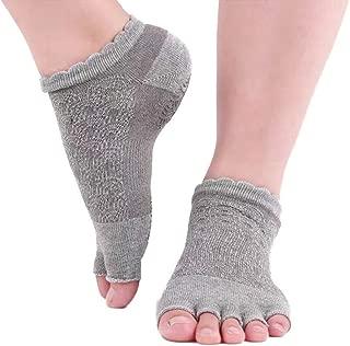 Double Side Yoga Sock for Women Non-Slip Grips, Toeless Non Skid Sticky Grips Sock for Pilates, Barre, Ballet, Bikram, Hospital