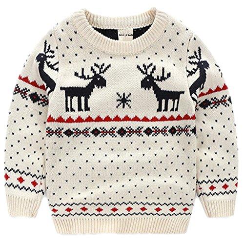 MULLSAN Children's Fireplace Lovely Sweater for Christmas Best Gift (2T, White)