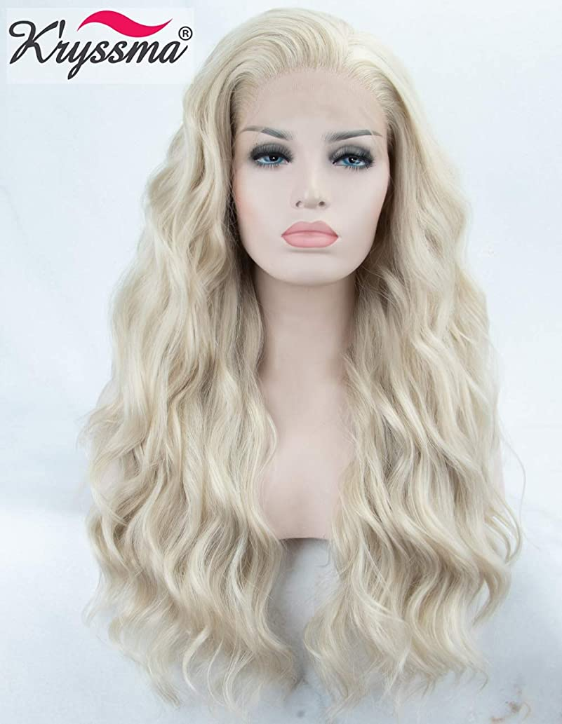 K'ryssma Platinum Blonde Lace Front Wigs Long Wavy Light Blonde Synthetic Wigs for Women Heat Resistant Wave Synthetic Lace Wig 22 inches