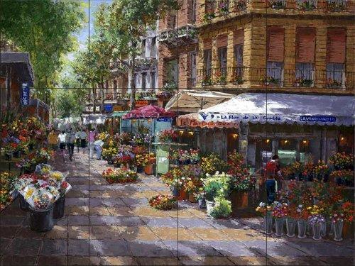 Carreaux de céramique murale - Marché aux Fleurs Barcelone - par Sam Park/Soho Editions - carreaux/tuiles de salle de cuisine