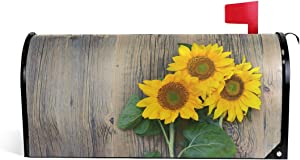 Ollabaky Sunflower Mailbox Cover Magnetic Mailbox Wraps Post Letter Box Cover for Home Garden Yard Outdoor Decor 20.8