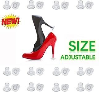 [2019 New] High Heel Protectors Adjustable size 12 Pairs Heel Stoppers for Grass Wedding Outdoor Events Womens Shoes Guards Heel Covers Small/ Middle/ Large Size Clear