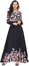 Clearance!Women Loose Long Maxi Dress Ethnic Style Floral Print Patchwork Long Sleeve Embroidery Elegant Swing Dress (L, Black)