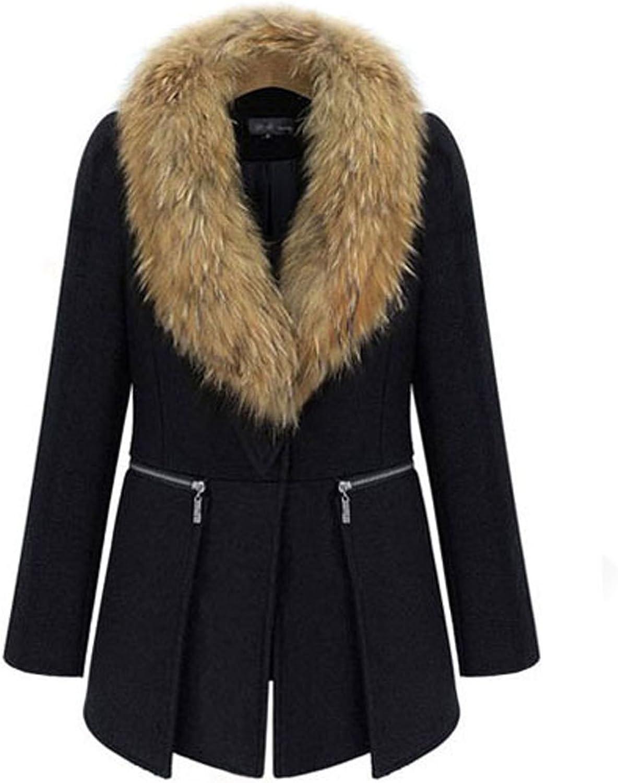 Women's Winter Coat Long Section Fur Collar Longsleeved Woolen Coat Female