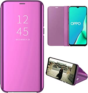 OPPO A5 2020 Case, EabHulie Mirror Plating Hard PC +PU Leather Semi-transparent Standing View Case Cover for OPPO A5 2020 Purple