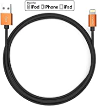 Pawtec [Apple MFi Certified] Premium Lightning to USB Charge and Sync Cable 3.3 Feet/1Meter Alpha Series for iPhone Xs/XS Max/XR/X / 8/8 Plus / 7/7 Plus / 6s 6, iPad (Orange Aluminum Black)