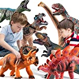 TEMI 7 Pieces Jumbo Dinosaur Toys for Kids and Toddlers,Jurassic World Dinosaur T-Rex Triceratops, Large Soft Dinosaur Toys Set for Dinosaur Lovers - Dinosaur Party Favors, Birthday Gifts