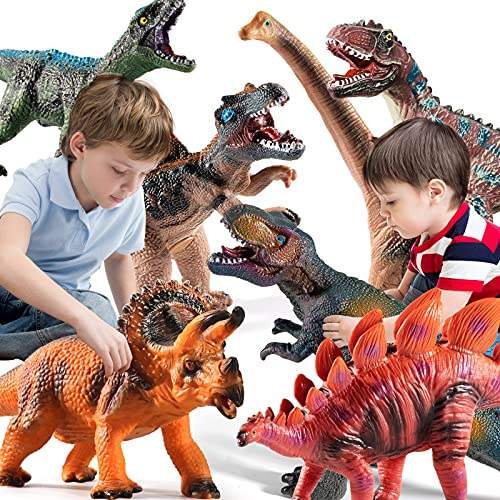 TEMI 7 Pieces Jumbo Dinosaur Toys for Kids and Toddlers,Jurassic World...