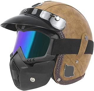 Xummy Motorcycle Helmet Half Face Scooter Helmet w/Face Mask (Brown)(M)