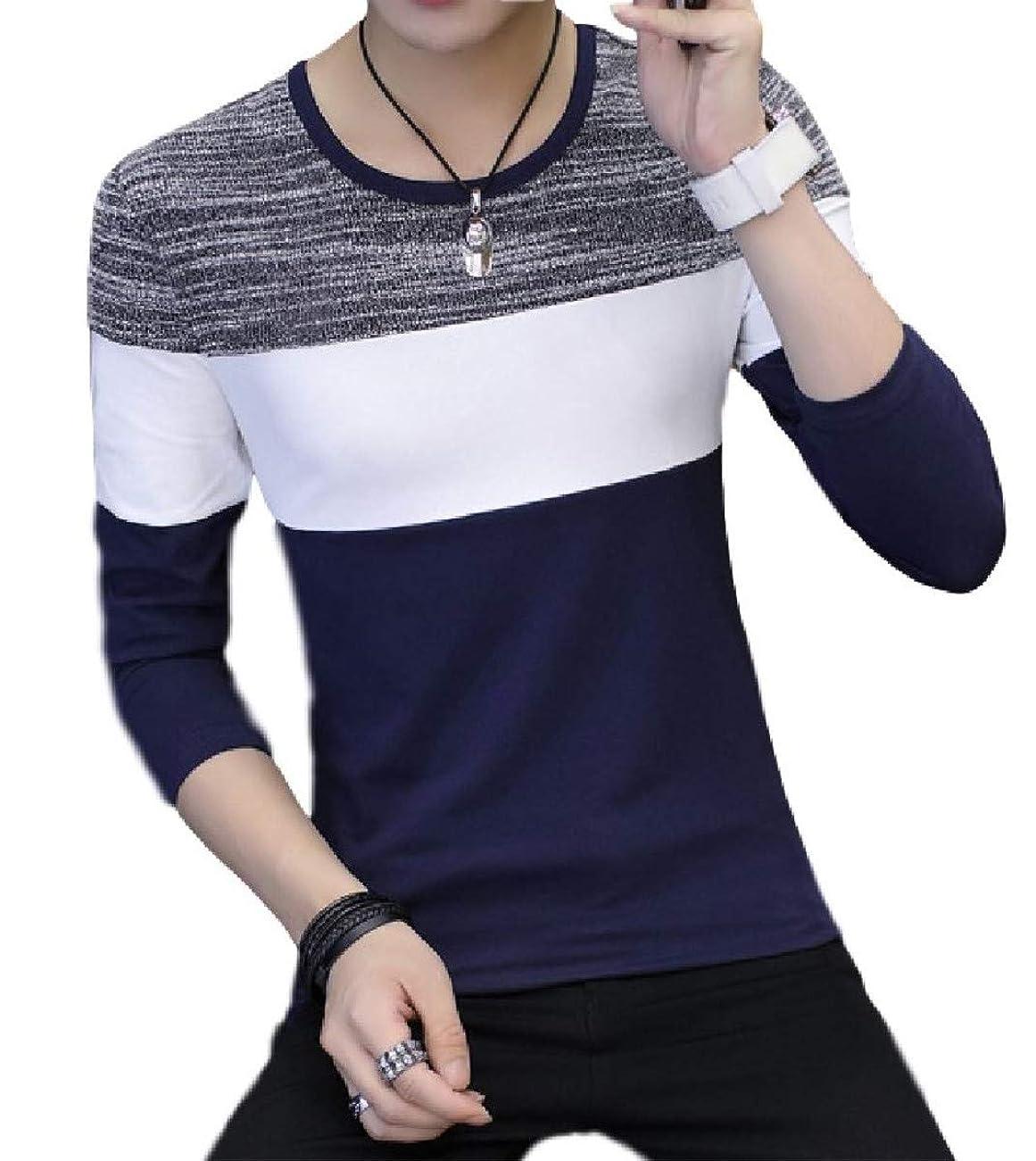 黒くする物足りない火星[アミュオン] Tシャツ メンズ 長袖 薄め ロングスリーブ 先染め 綿