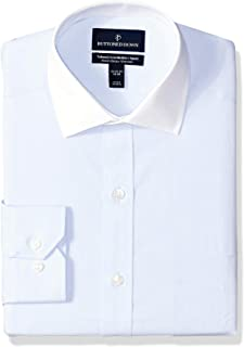 "Buttoned Down Men's Tailored Fit Stretch Poplin Non-Iron Dress Shirt, Light Blue/White Collar, 16"" Neck 34"" Sleeve"