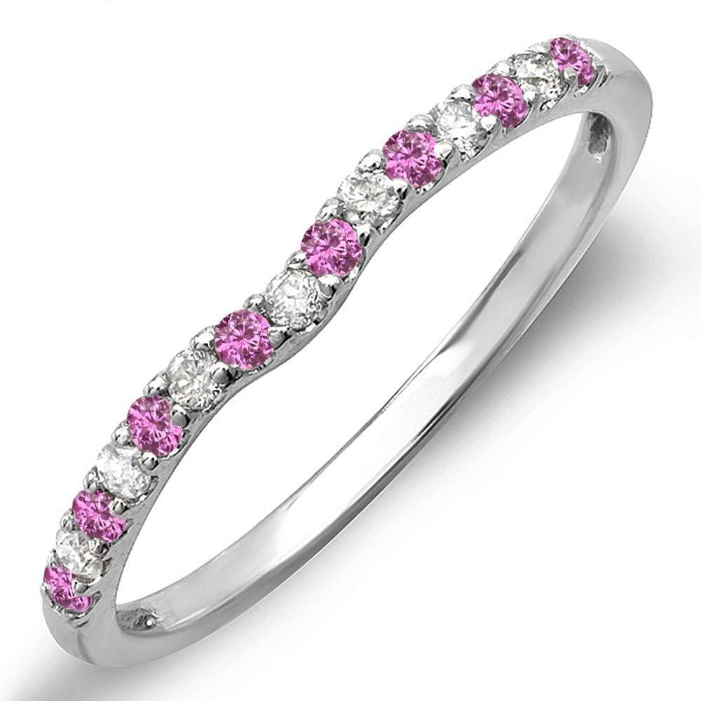 Dazzlingrock Collection 10K Round Pink Sapphire & White Diamond Anniversary Wedding Ring Matching Band, White Gold