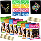 YUKKLY 8-Pack Rainbow Scratch Art Notes with 8 Colorful Mini Notebooks, 8 Wooden Styluses,...