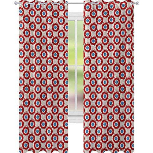 YUAZHOQI Ikat Blackout Curtains Ancestral Indonesian Circular Motifs Vivid Color Traditional Pattern 52' x 108' Curtains for Bedroom Beige Vermilion Blue