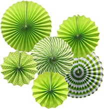 KEZAY Paper Fan Flower Hanging Set,Colorful Round Pattern Paper Garlands Decoration for Birthday Wedding Graduation Party Decorations green FF-GREEN