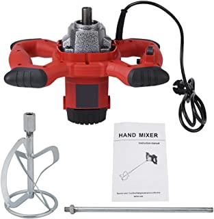 Liusin Electric Mortar Mixer Handheld 1500W Adjustable 7 Speed Heavy Duty Concrete Cement Mixer with Mixing Paddle for Thinset Grout and Mortar AC 110V (Red)