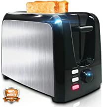 Toaster 2 Slice - Toasters Toast Evenly And Quickly - Toaster With Bagel Defrost Cancel Function - Stainless Steel Cool Touch Black Compact Bread Toasters 2 Slice Best Rated Prime With Two Extra Wide Slots, Removable Crumb Tray
