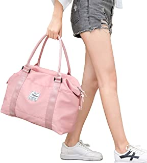 Pink Travel Duffel Bag,Sports Tote Gym Bag,Shoulder Weekender Overnight Bag For Women,With Trolley Sleeve And Wet Pocket