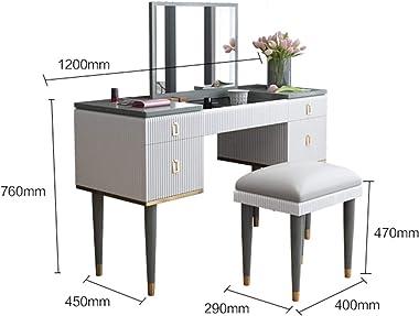 Makeup Table Drawers Dressing Table Makeup Dresser with Mirror Stool Set Bedroom Furniture (Color : Makeup Stool)
