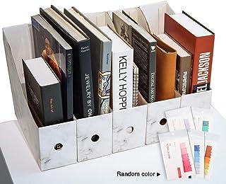 CAVEEN Caja de Almacenamiento de la Oficina Revistero Archivador con Cédula Kraft Paper Organizador de Documentos Papelería Revista Lápices Accesorios de Escritorio Caqui Cinco Piezas (blanco)
