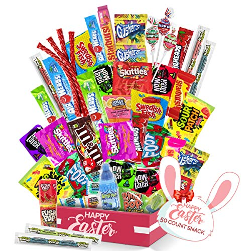 Easter Egg Hunt Assortment - (50 count) A Sampler of Skittles, Sour Patch Kids, Starburst, M&M's, Twizzlers, Airheads, and More! Great for Movie Night, Sleepovers, and Goodie Bags! by Sweet Choice