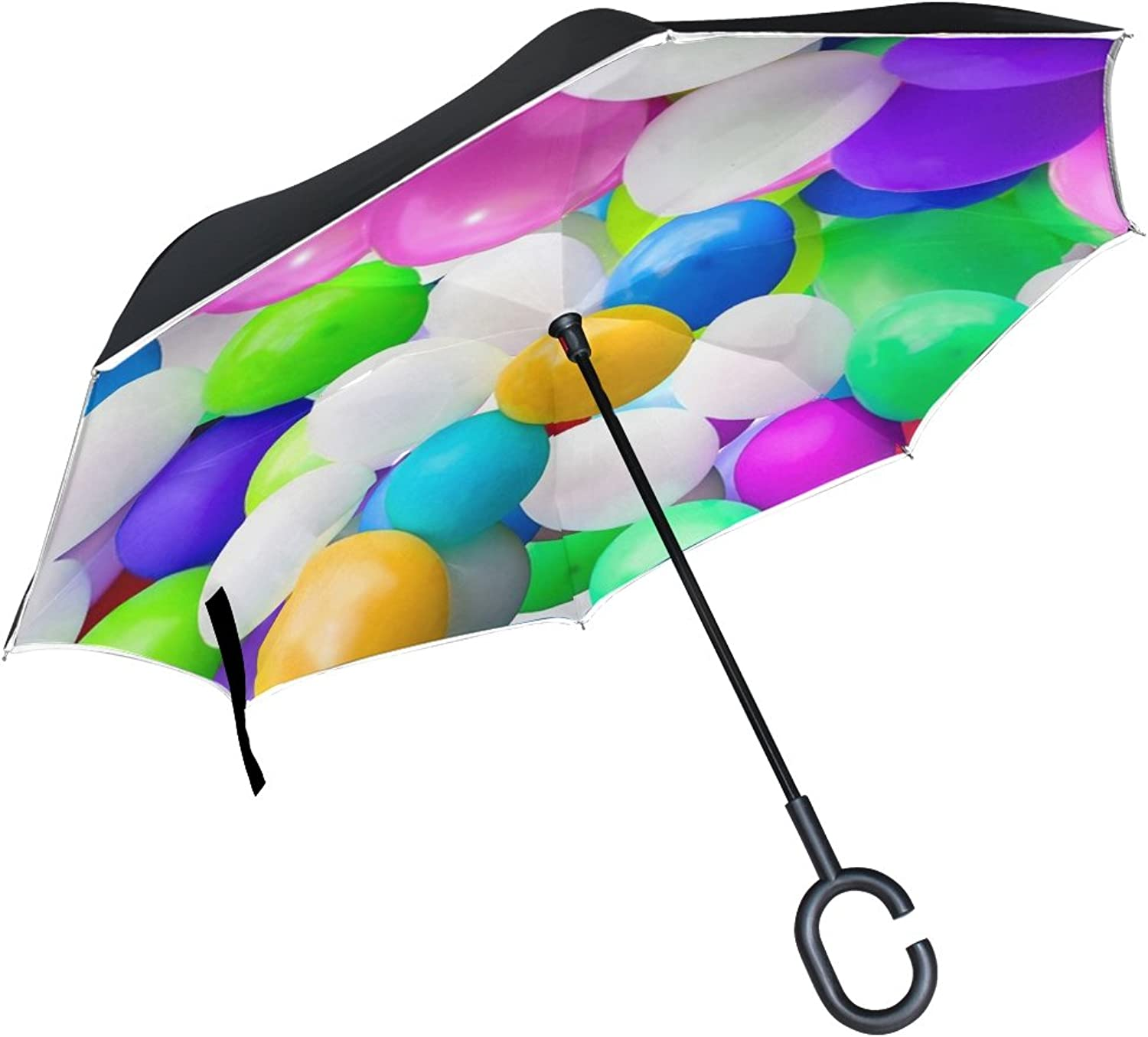 Double Layer Ingreened Balloon Birthday colorful Ballons Umbrellas Reverse Folding Umbrella Windproof Uv Predection Big Straight Umbrella for Car Rain Outdoor with CShaped Handle