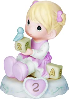 Precious Moments,  Growing In Grace, Age 2, Bisque Porcelain Figurine, Blonde Girl, 142011