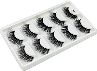 Alluring 3D Mink Fur False Eyelashes Pack of 5 Pairs,100% Natural Soft Messy Fluffy Curl Genuine Siberian Mink Hair Hand-made Luxury Fashion Fake Lashes A11-5