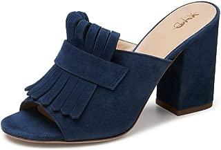 Women Open Toe Mule Shoes High Chunky Heel Slip On Slide Fringed Summer Sandals
