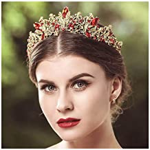 Yalice Bride Rhinestone Wedding Crown and Tiara Princess Queen Baroque Vintage Red Crystal Bridal Headband Hair Accessories for Women and Girls