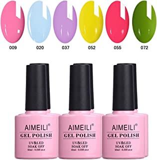 AIMEILI Soak Off UV LED Gel Nail Polish Multicolour/Mix Colour/Combo Colour Set Of 6pcs X 10ml (SET6-24)