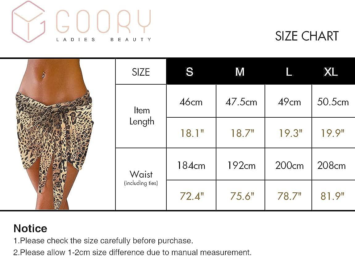 GOORY Women's Short Beach Sarongs Bikini Cover ups Swimwear Chiffon Bathing Suit Wrap Skirt