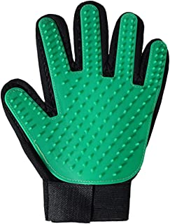 Magic Pet Dog Cat Hair Removal Comb Grooming Cleaning Massage Touch Glove Brush (Green   Left)