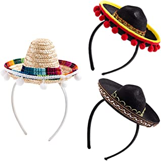 3Pcs Cinco De Mayo Sombrero Headband, Fiesta Sombrero Party Hats with Ball Fringe Decoration for Carnivals Festivals, Dia De Muertos, Coco Theme, Wedding, Birthdays and Party Supplies Black