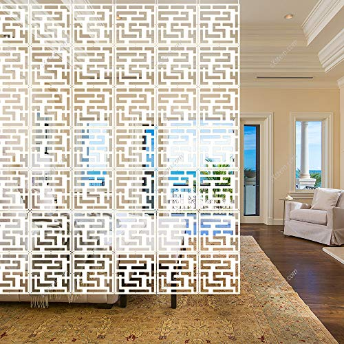 Yizunnu 12 Stück / Set weiß Holz-Kunststoff hängende Trennwände Raumteiler Wandpaneel 28,4 x 29,2 cm