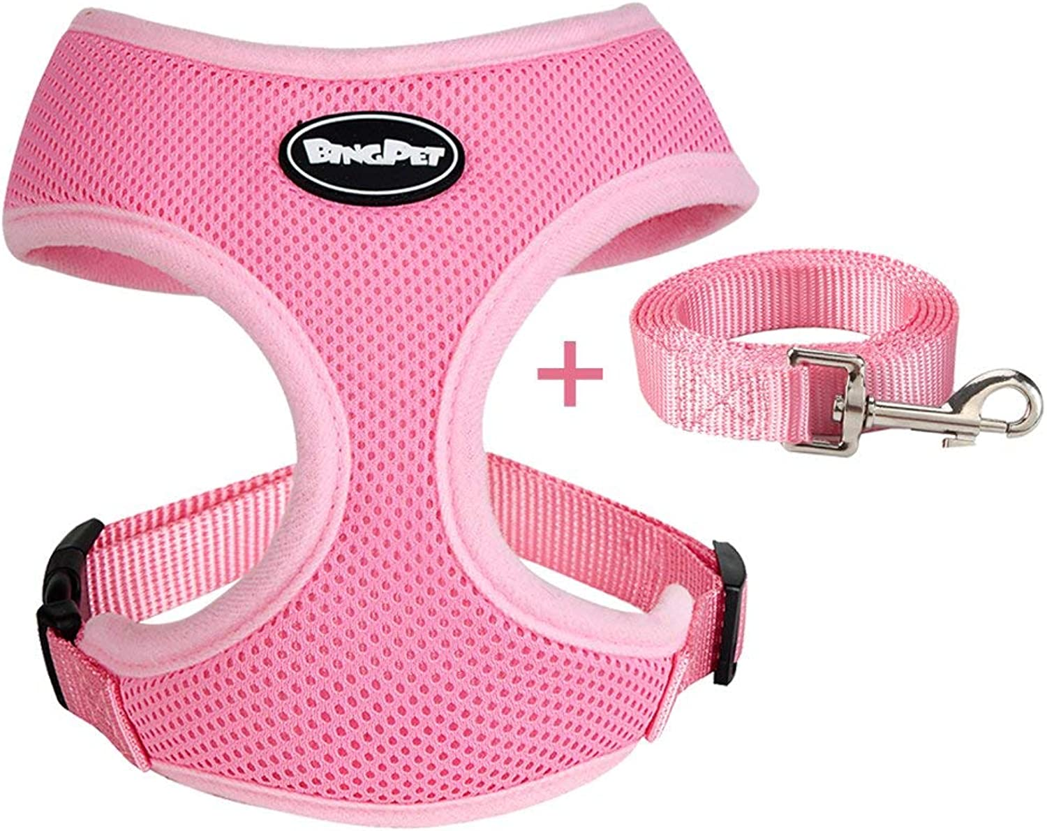 BINGPET Small Dog Harness and Leash  Soft Puppy Vest for Cat, Pink Small